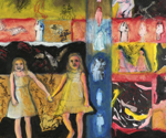 Little Girls Together 2 , 2011, Mixed media and collage on wood, 30 x 40 inches
