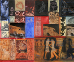 Venus Figures and Milagros Diptych , 2009, Mixed media and collage on wood, 30 x 40 inches