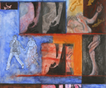 Female Torsos and Waiting Figures , 2009, Mixed media and collage on Arches paper, 30 x 22 inches