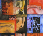 Female Torsos and Hands , 2008-09, Mixed media and collage on Arches paper, 30 x 22 inches