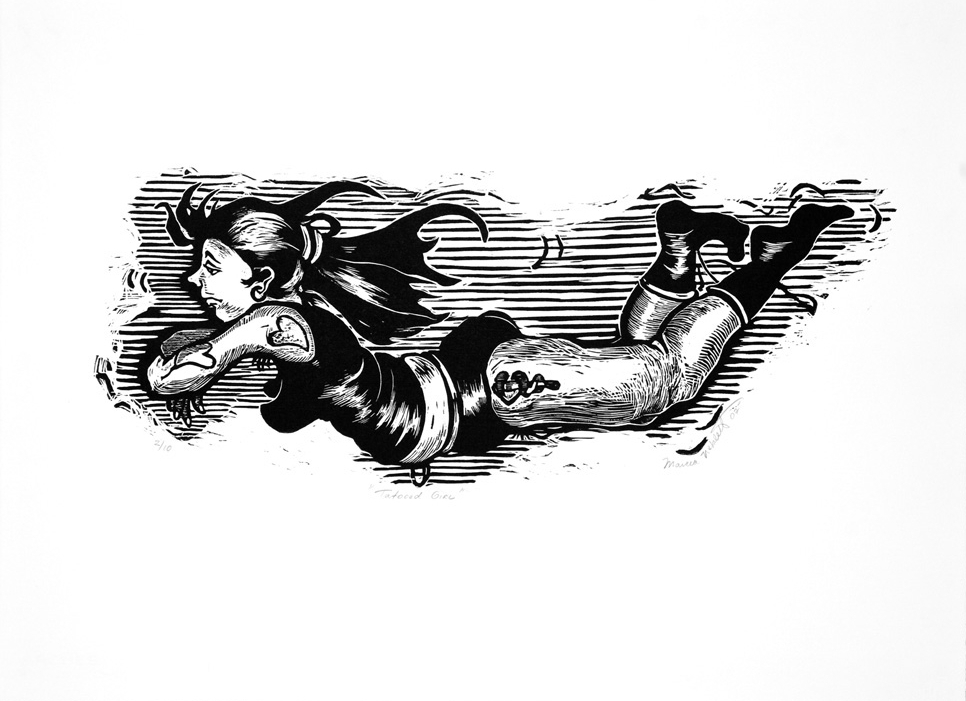 Tattooes Girl , 1997, Woodcut, 20 x 30 inches