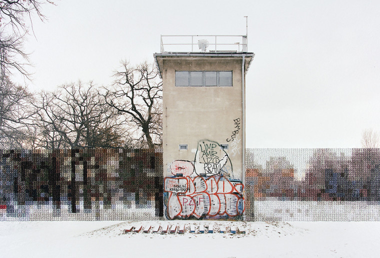 Former Guard Tower Off Puschkinallee , 2013, Hand sewn archival ink jet print, 10 x 13.5 inches