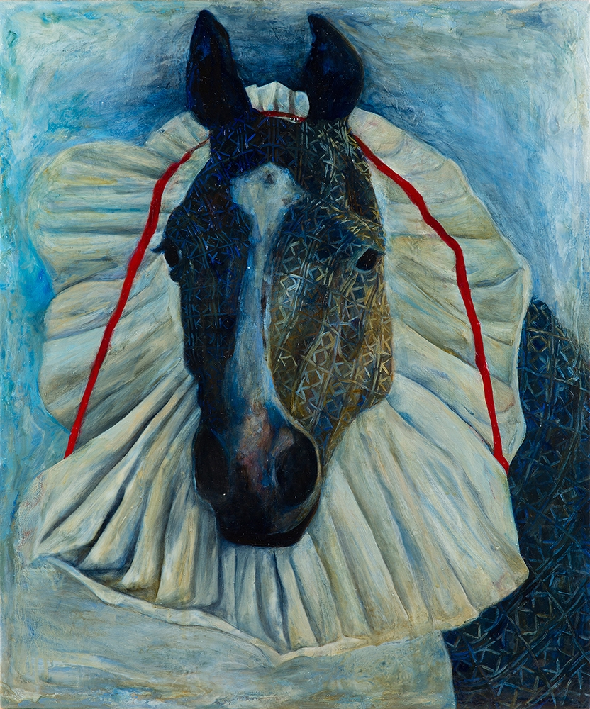 Pony with Pleated Headdress , 2015, Oil on linen, 23 x 19 inches
