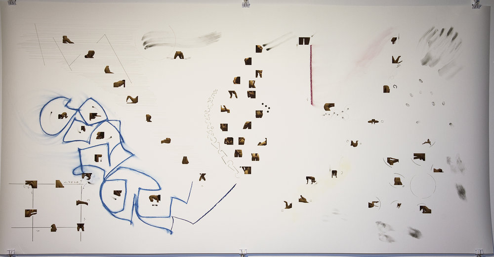 Beaver (score for one dancer) , 2013, Pencil, pen, charcoal, and inkjet print on paper, 44 x 80 inches