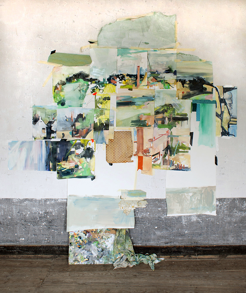 The curve,  2015, Paintings, palette, painting rags, found fabric, watercolor, paper, tape, 74 x 68 x 13 inches