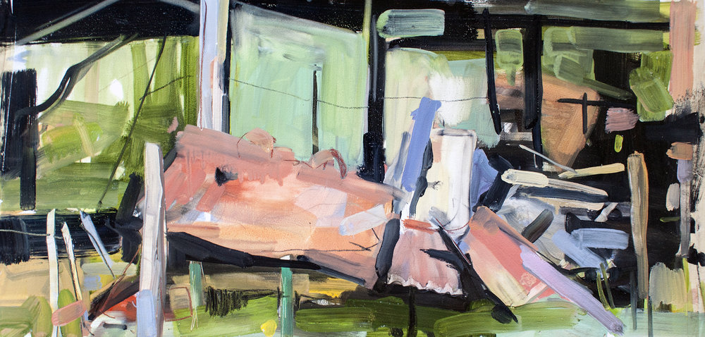 My panache , 2015, Oil on paper, 11 x 27 inches