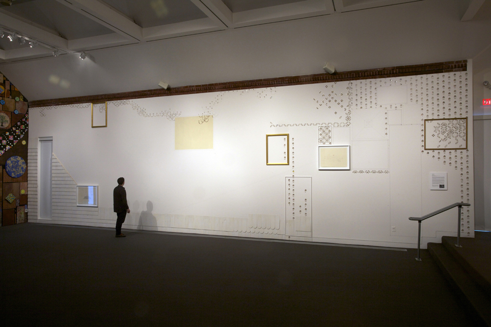 Transliteration , 2011, Cedar shingles, found frames, thread, nails, staples, molding, detritus, gold leaf, framed drawings, 13 x 45 feet