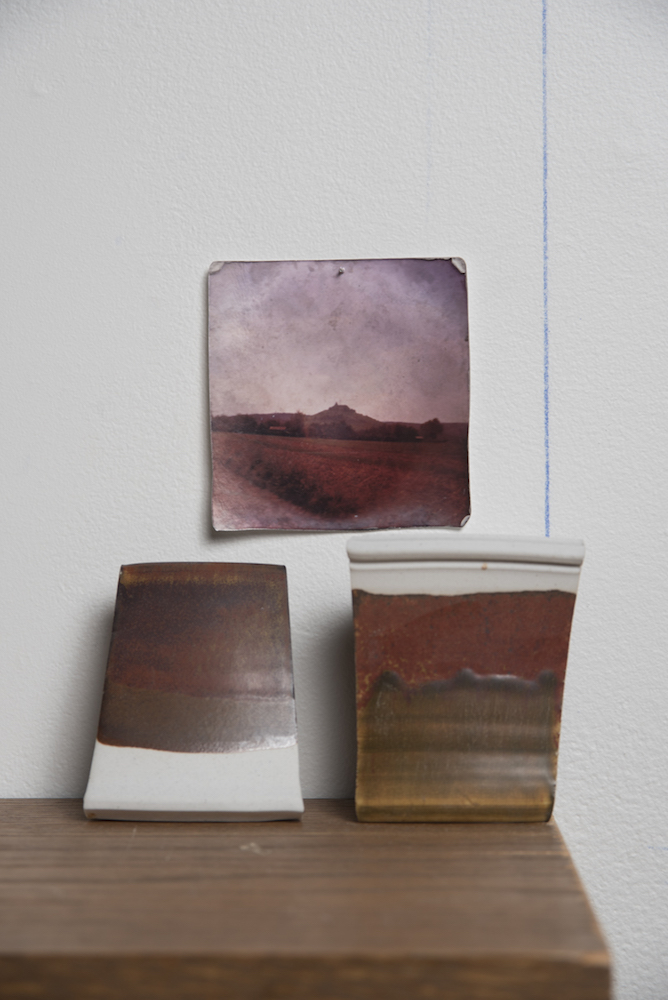 Horizon Lines  from  Impermanent Collection , 2015, Glaze test tiles and found photograph, 8 x 8 x 6 inches
