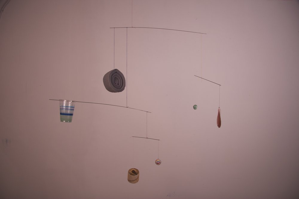 Shared-forest for an incomplete sentence, 2008, Steel, wire, string, found objects, dimensions variable