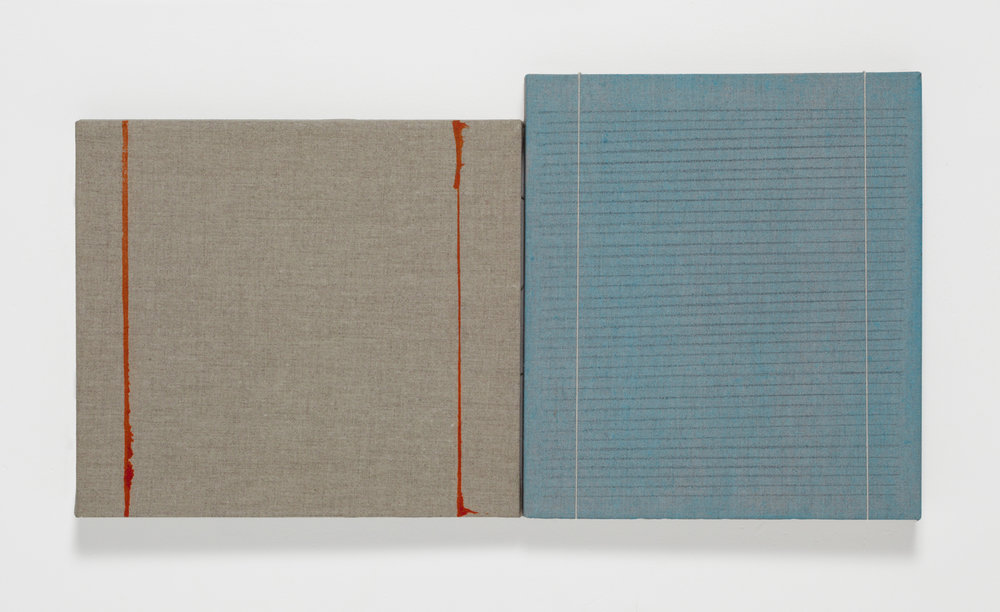 Diptych with Orange Lines, 2012, Ink, graphite, watercolor, linen string on linen, 9 x 17 inches