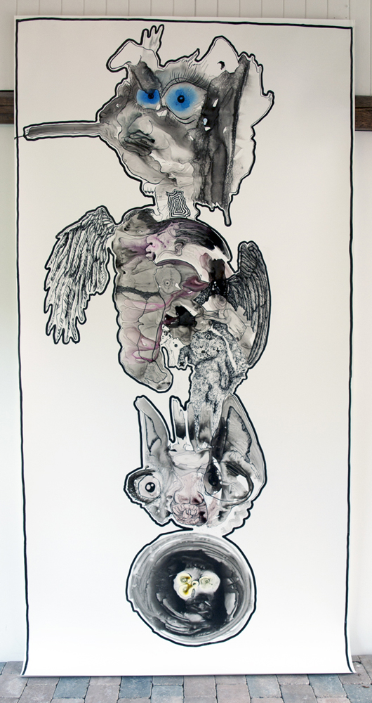 Second Totem,  2013, ink on paper, 144 x 60 inches
