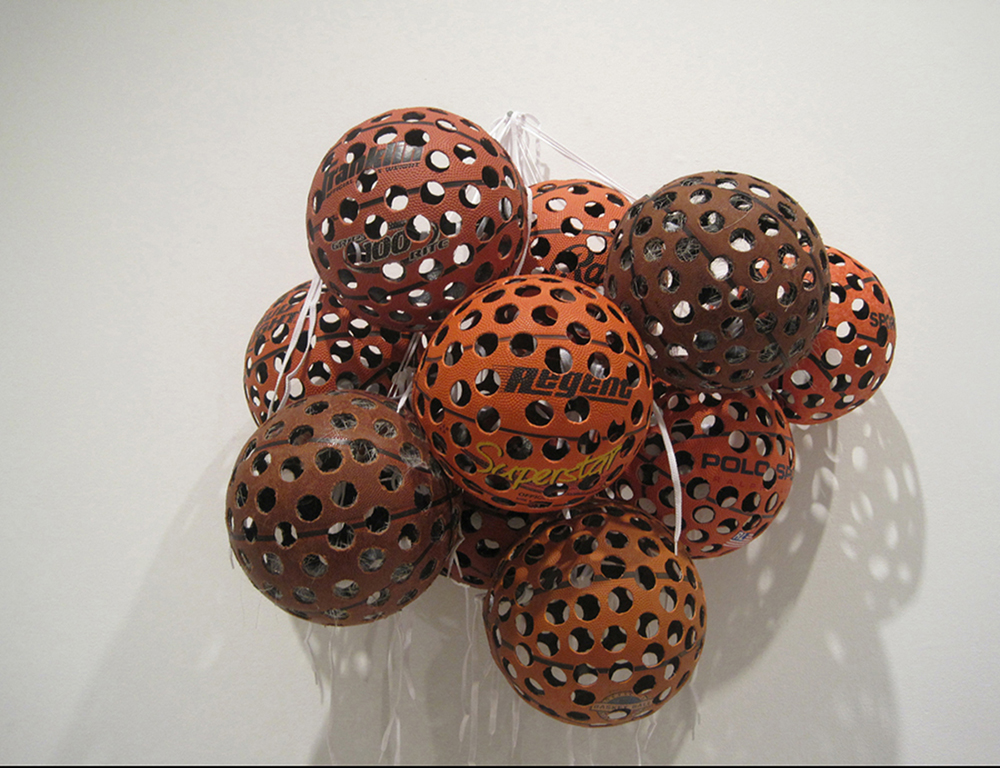 Superstarts (Dreamcatcher Series), 2010, Basketballs, shoelaces, dimensions variabe