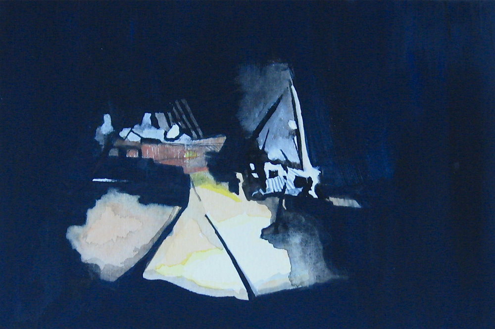 Site,  2011, Watercolor and gouache on paper, 5 x 7 inches