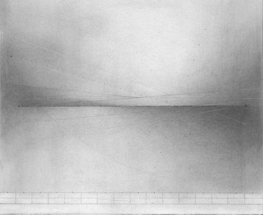 Winter Light- 81 minutes,  2013, Graphite, ink and charcoal on paper, 10 ⅙ x 12 ⅙ inches