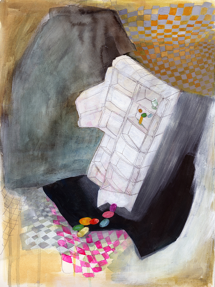 Offering , 2015, EC, gouache, acrylic, and graphite on paper, 16 x 12 inches