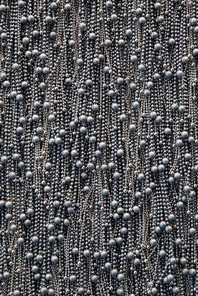 Untitled , 2012, Ball chain, neodymium magnets on steel plate, 77 x 72 inches