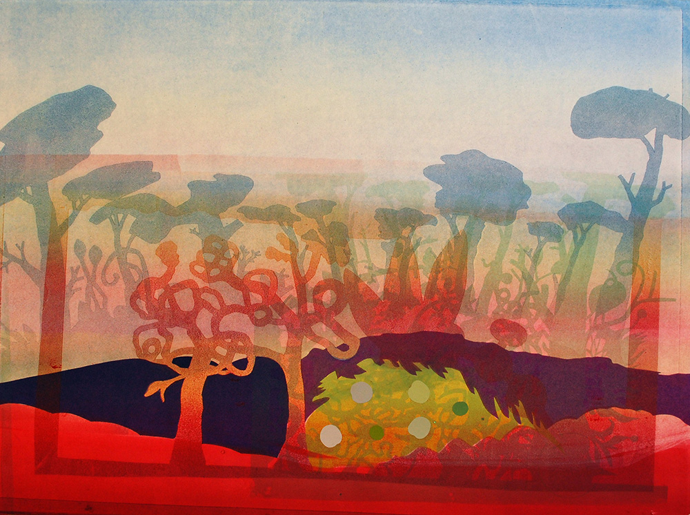 October Landscape , 2015, Monoprint on BFK Rives, 22 x 30 inches