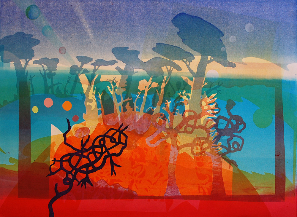 January Landscape , 2015, Monoprint on BFK Rives, 22 x 30 inches