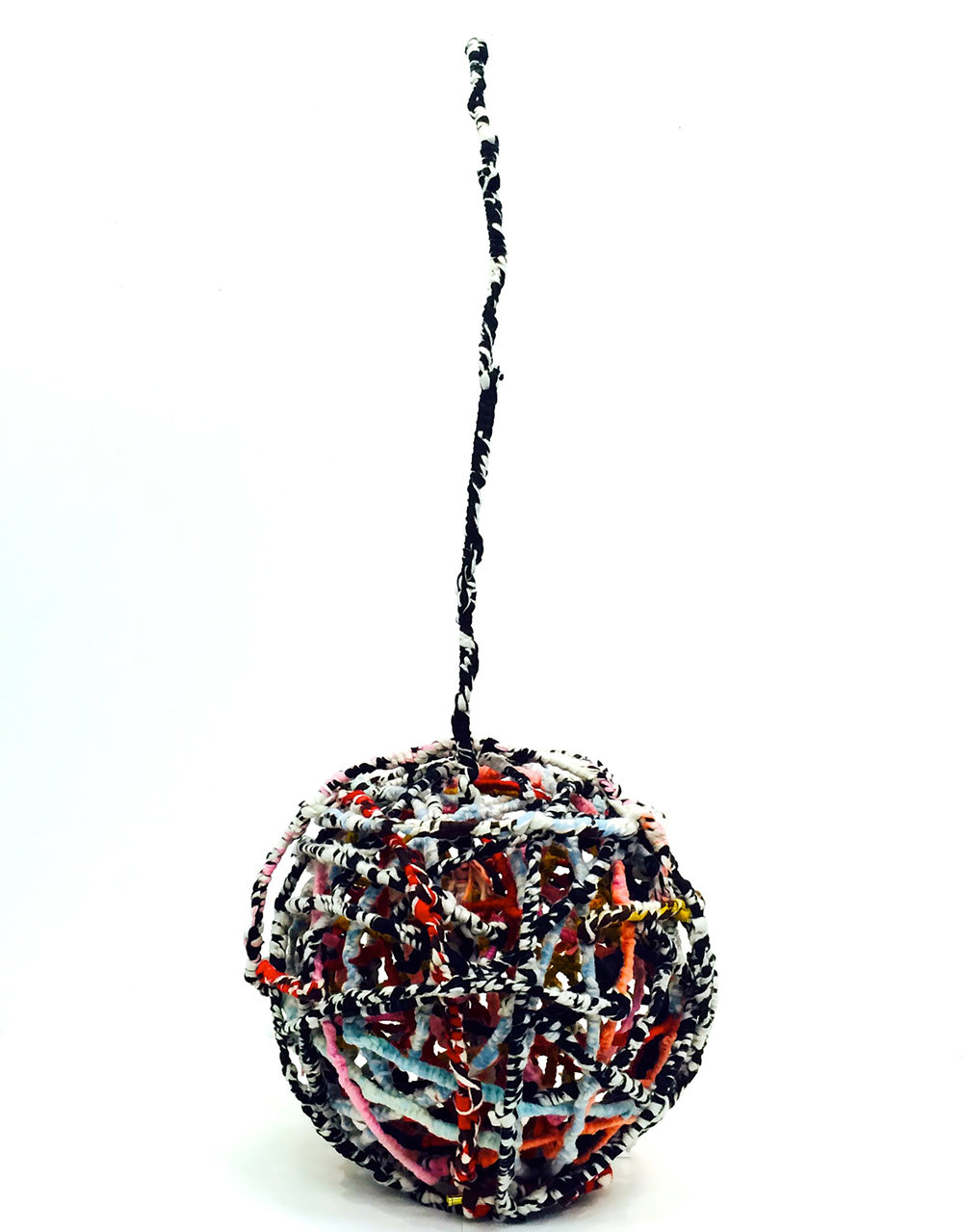 Kathleen Schneider,  Globe , Wool, felt and wire, 65 x 25 x 25 inches