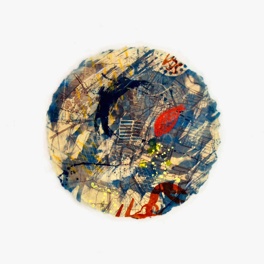 Yvette Drury Dubinsky, Aleppo Drowning, 2015, Mixed media on watercolor and Japanese Paper, 31 inch-diameter