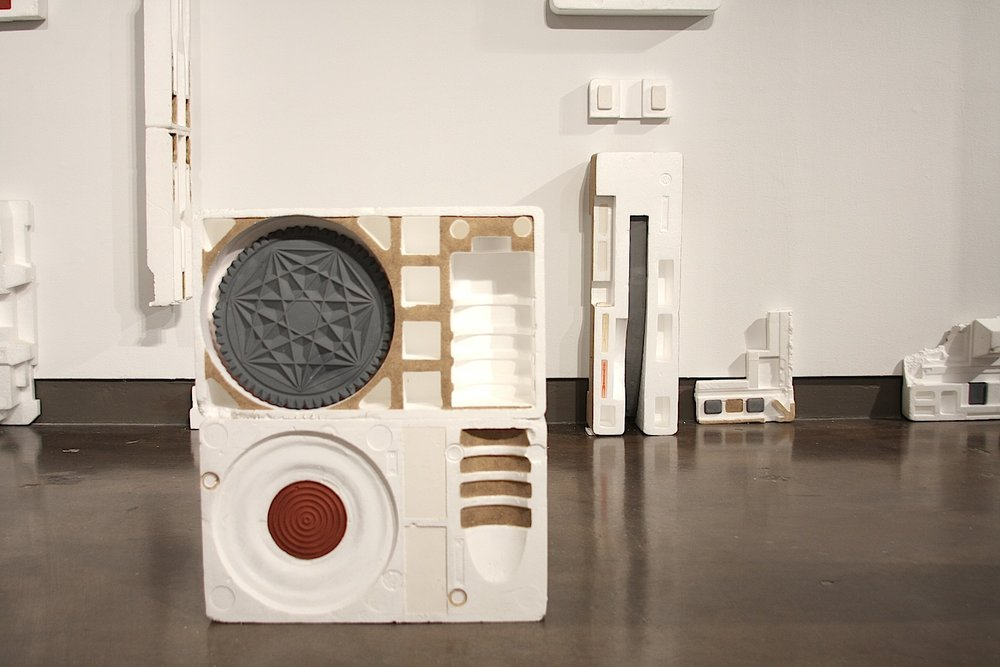 Parts and Parcels,  2013, Styfrofoam, plaster, plastic, pigment, sand, Dimensions Variable