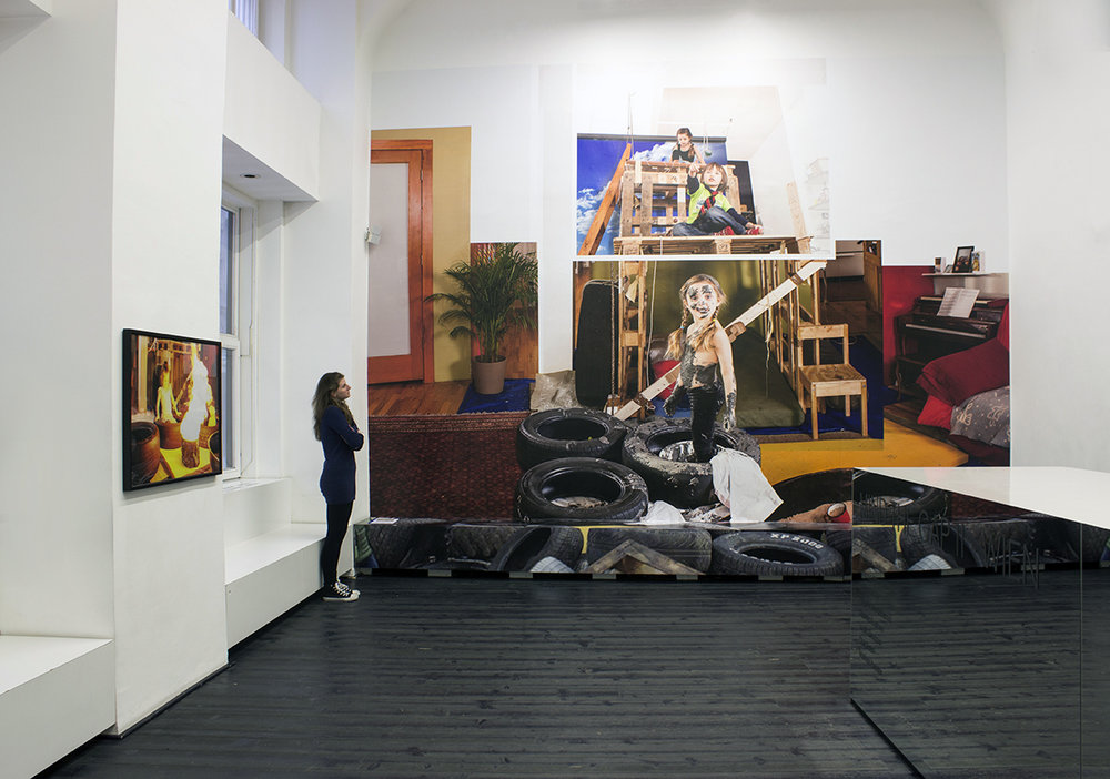 Play Date, 2015, Site-specific installation, photographic print on wallpaper, 16 x 18.5 feet