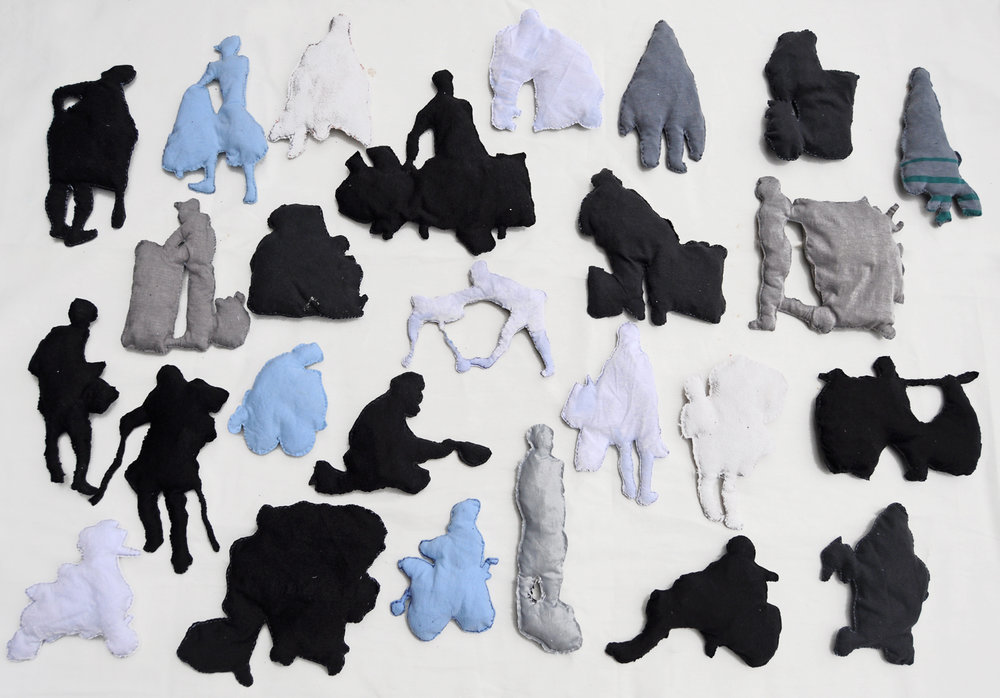 Urban Characters, 2014, Fabric and mixed media, 63 x 91 x 106 inches