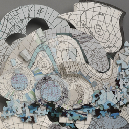 Phyllis Ewen, Northern Waters 3 (Detail), 2013, digital print, paint, puzzle pieces, and archival paper
