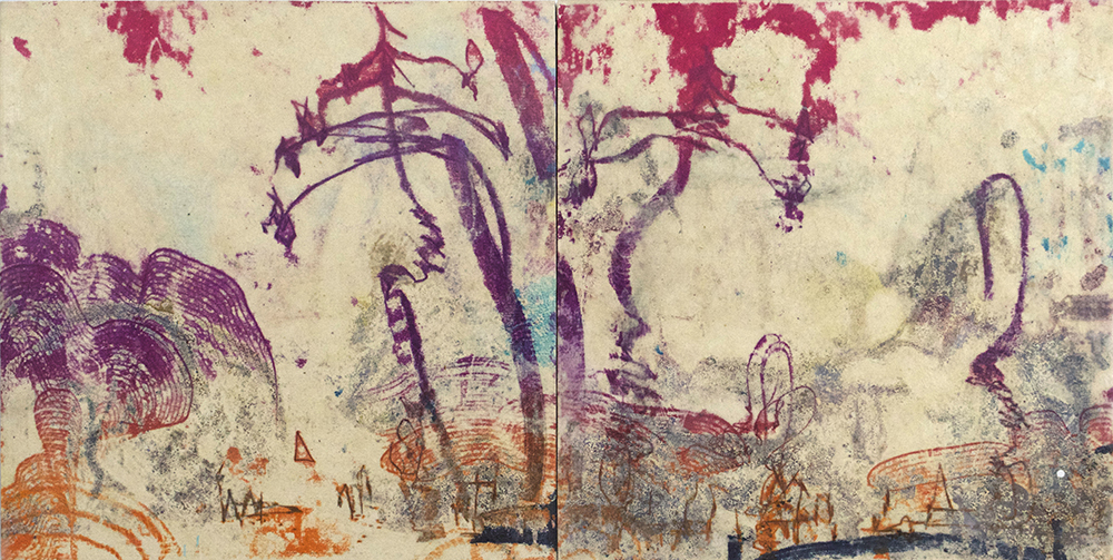 Faux, Fauve, Firs , 2015, encaustic diptych, 10 x 20 inches