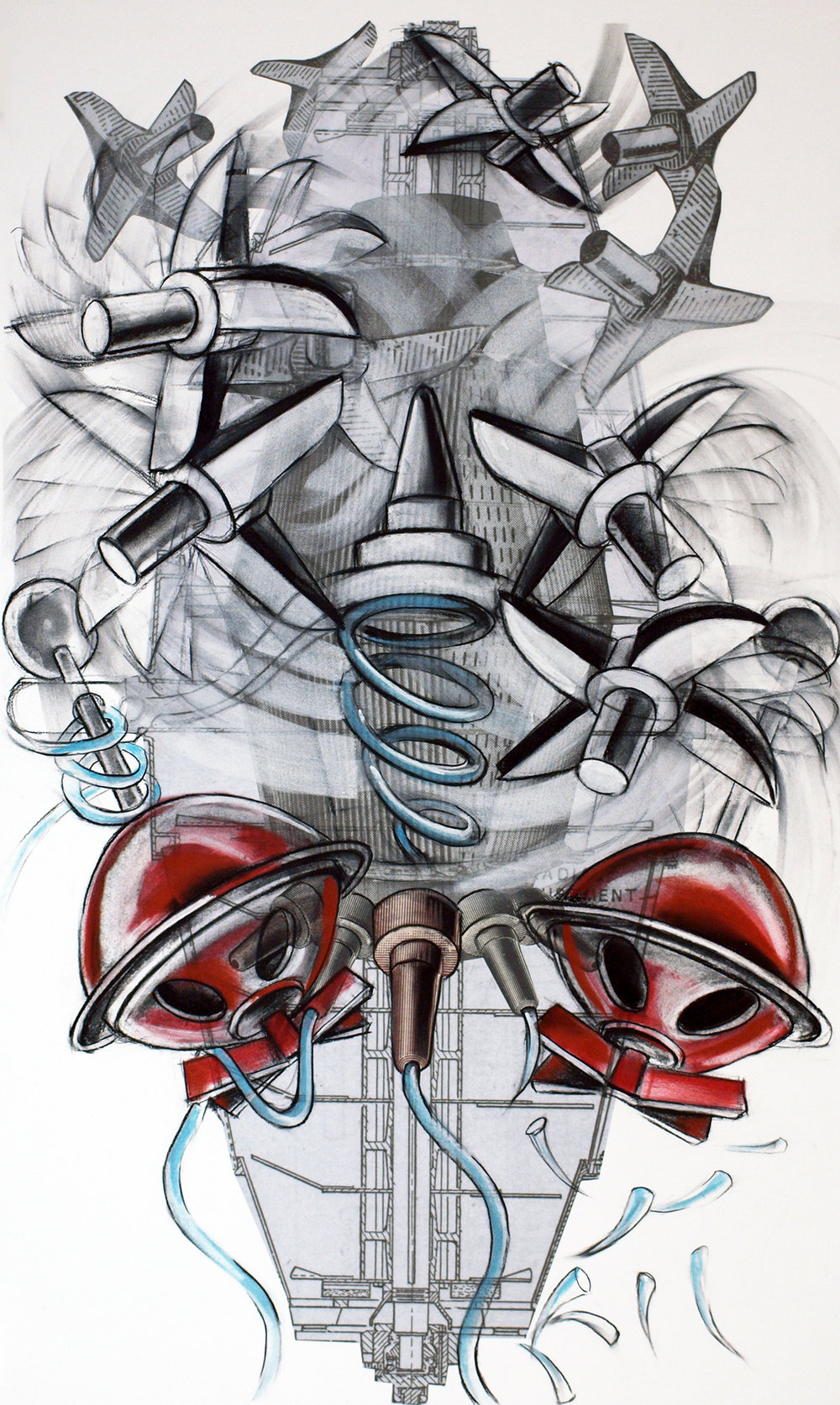 Enterprising Machines,  2016, Charcoal, pastel and digital print, 46 x 29 inches