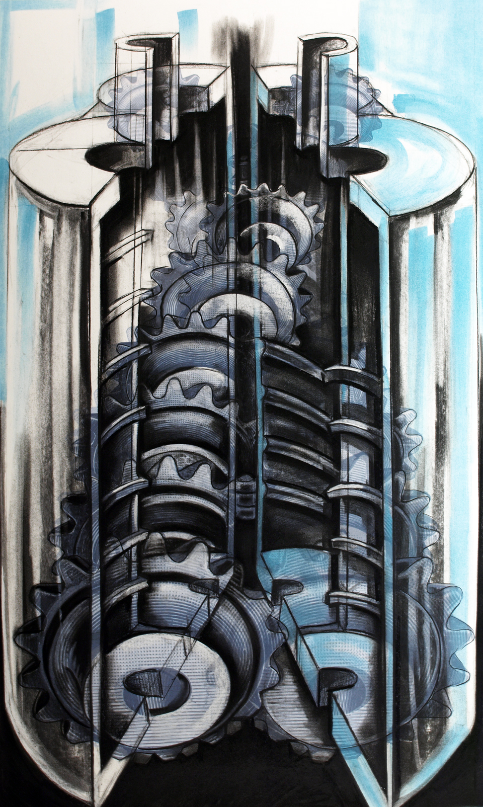 Enterprising Machines,  2015, Charcoal, pastel and digital print, 46 x 29 inches