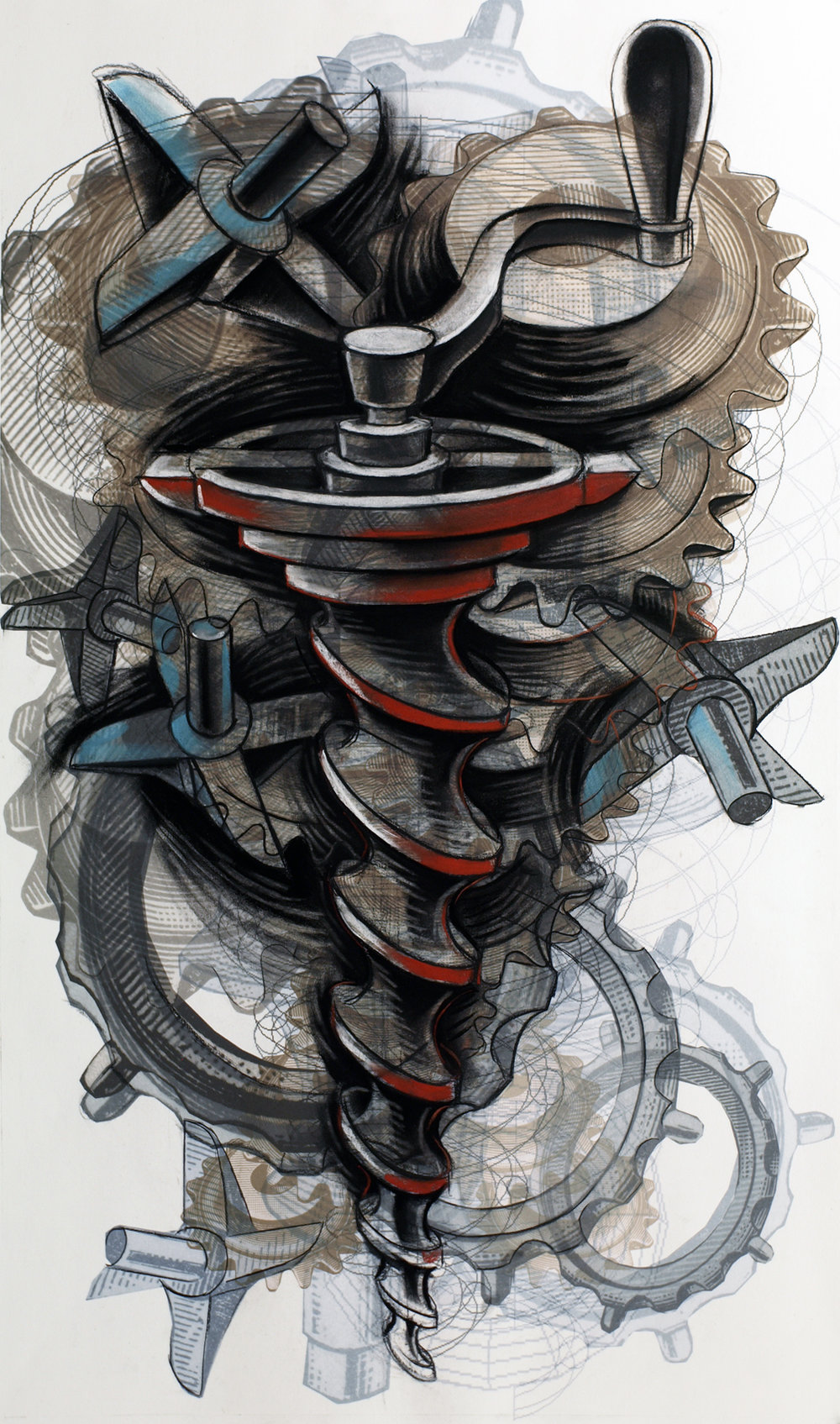 Jessica Gondek, Enterprising Machines, 2015, Charcoal, pastel and digital print, 46 x 29 inches