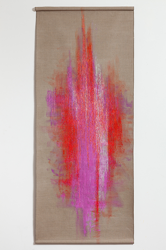 "Quiver , 2014,Acrylic on linen, 74"" x 30"""