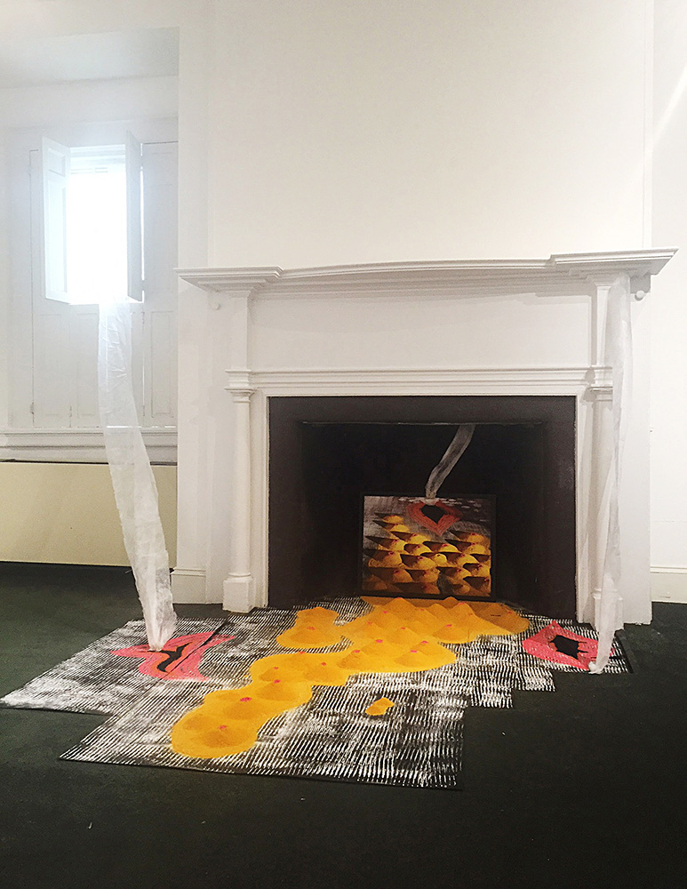 Aroused , 2016, Site-Specific installation, Rice flour, sand, spices, white cloth, (approx.10' x 10')