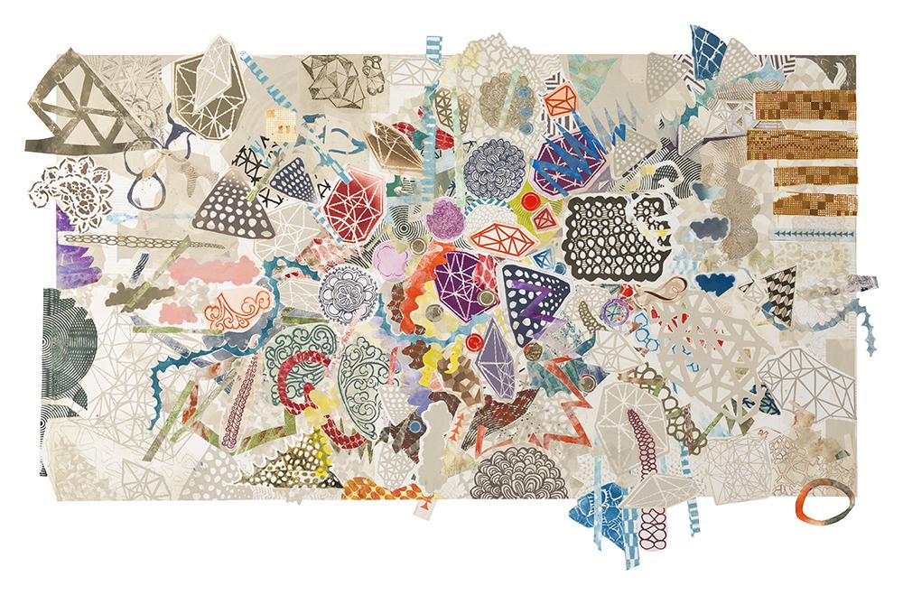 "A Flying Hike, 2016, hand embellished mixed media monoprint, 25"" x 44"" cut irregularly along border"