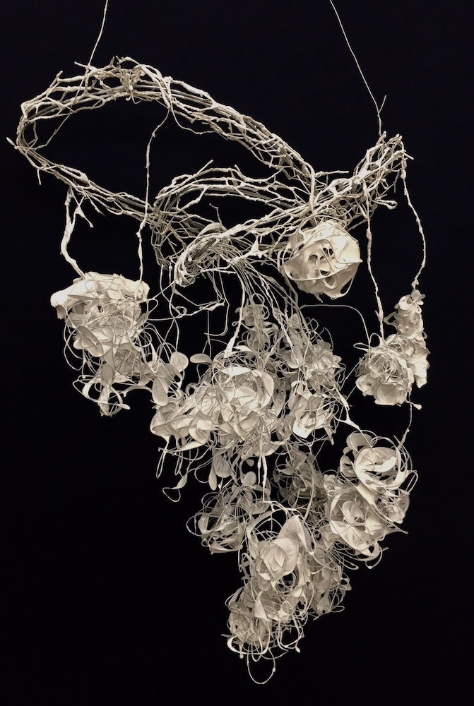 "Purity Tangle,  2017, wire and plastic dip, 28"" x 8"" x 14"""