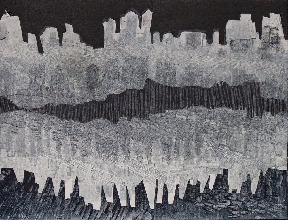 "Patty Smith & Claire Fouquet,  Paleolithic Skyscrapers , 2015 Monotype, 12"" x 15"""