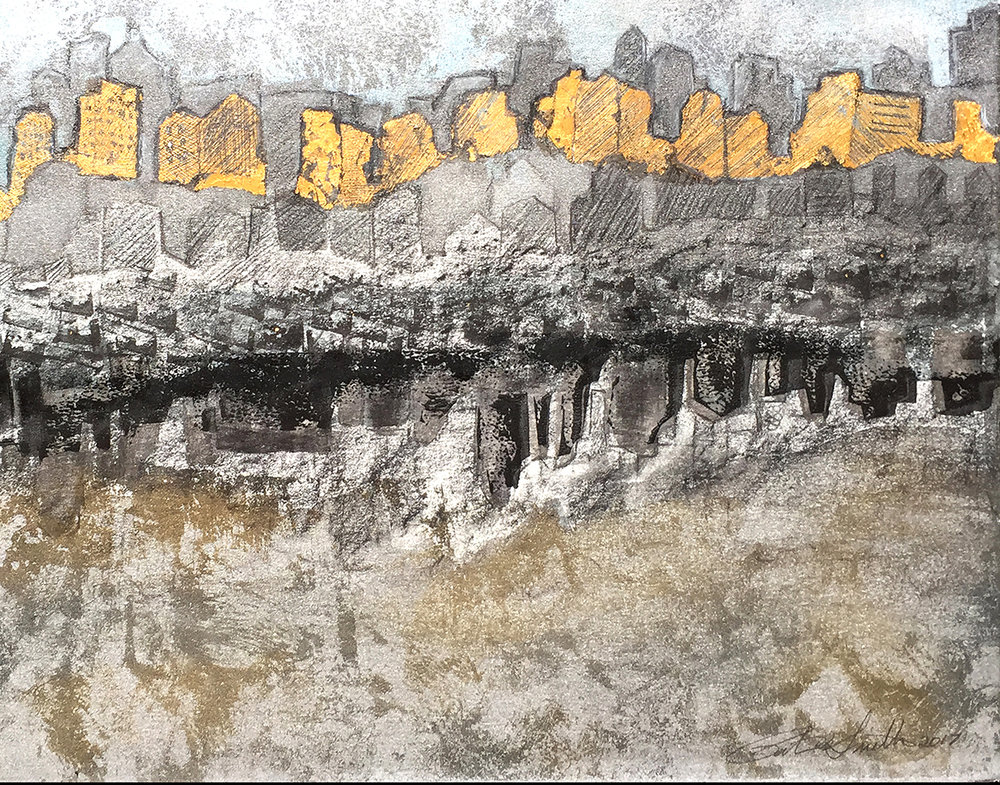 """Patty Smith, Golden Citadel I , 2017,lithography, monotype and drawing, 12"""" x 15"""""""