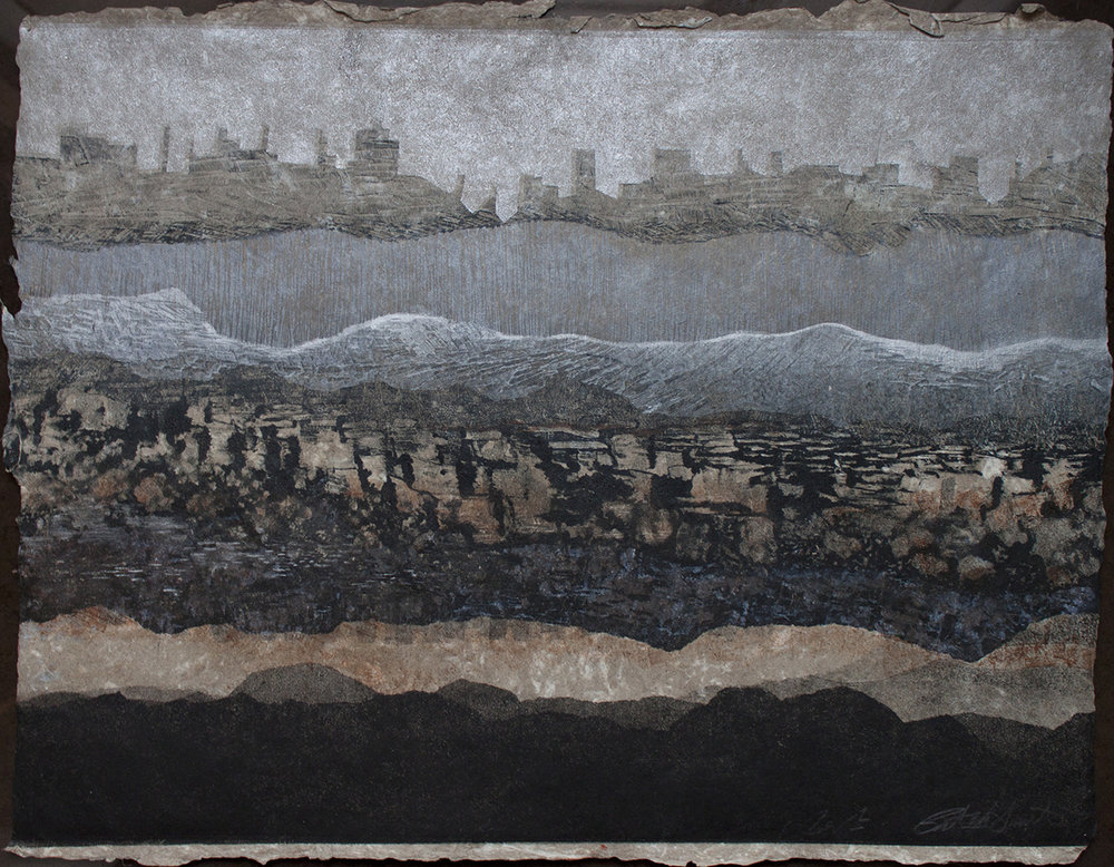 "Patty Smith & Claire Fouquet,  Geology/Genealogy II , 2014, monotype on handmade paper, 22"" x 30"""