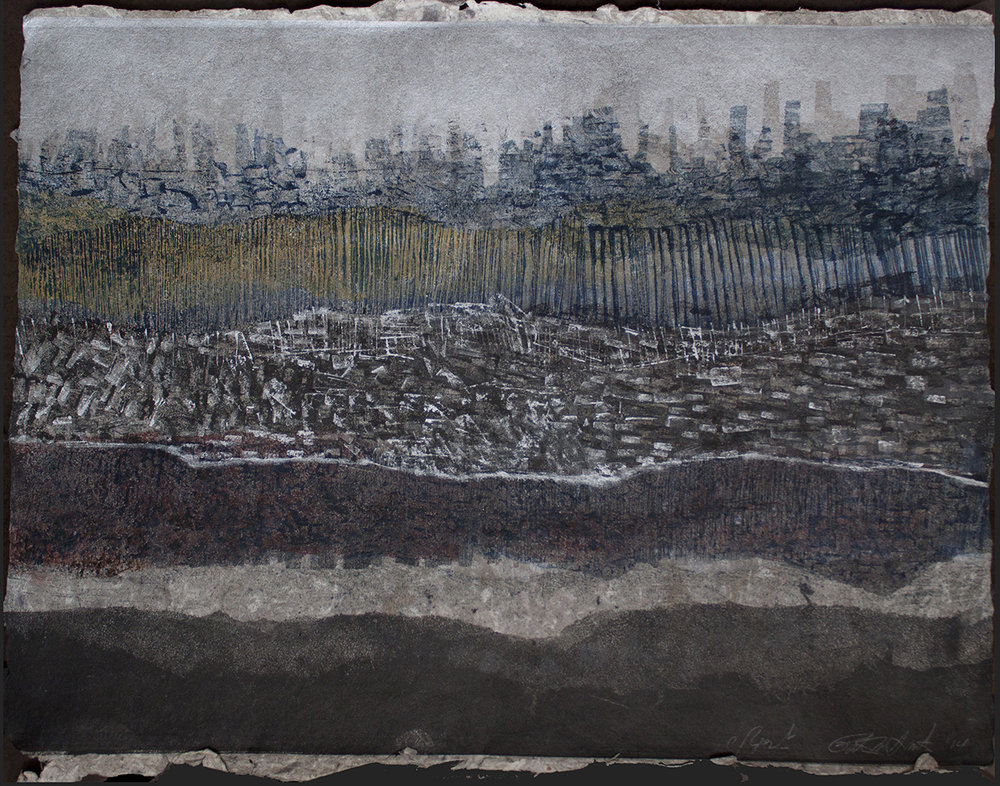 "Patty Smith & Claire Fouquet,  Geology/Genealogy I , 2014, monotype on handmade paper, 22"" x 30"""