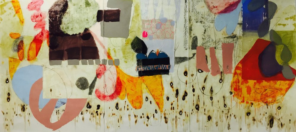 Hard At Work,  2015, oil bar, wax, dry pigment, charcoal, burning, 58' x 12'