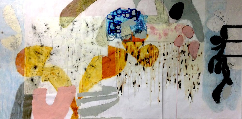 "Motley,  2015, oil bar, wax, dry pigment, charcoal, burning, 58"" x 12"""