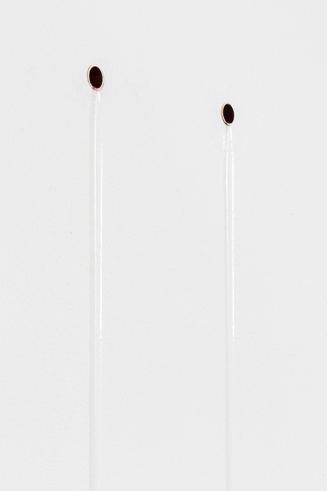 tears , 2017, copper, museum gel, dimensions variable