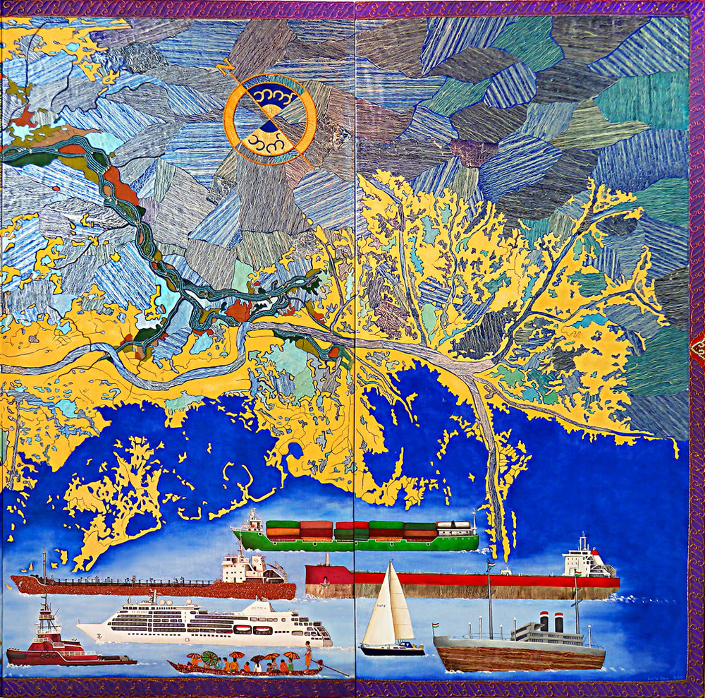 "Calling the Earth to Witness,  2015, Burmese shwe chi doe tapestry techniques and mixed media, 8 panels, 228"" x 60"" (19' x 5')"