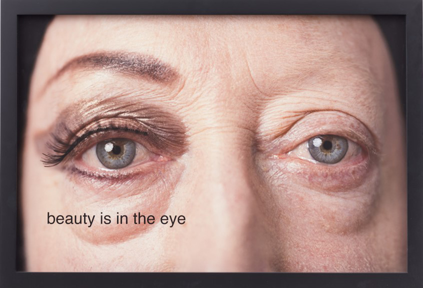beauty is in the eye,  2014, Pigmented ink print on Canson Rag Photographique, makeup by Melissa Roth, photograph by Michael Katchen, 16 x 24 inches