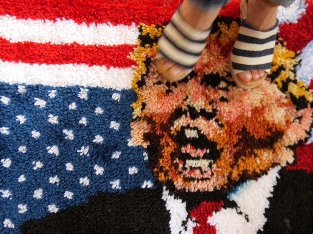 "Trump Welcome Mat , 2017 20""x27"" latch hook rug, mixed media"