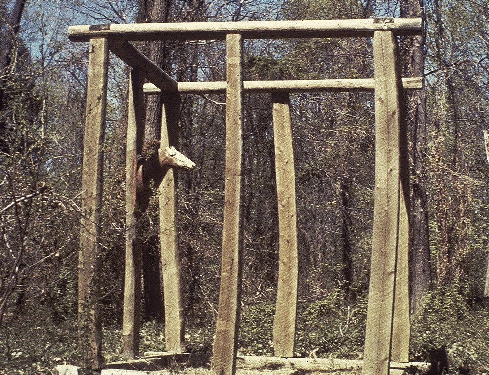 Reclamation,  1978, Wood, elk head, 9 x 9 x 8 feet