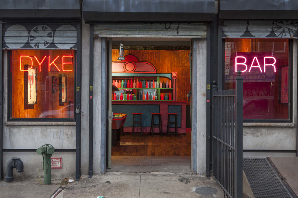 Eulogy For The Dyke Bar (Exterior) , 2015-2016, immersive installation and participatory project, 20(W)x22(L)x9(H) ft