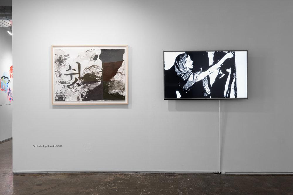 Left: Joo Yoo Woo,  Shush,  2017. Ink on paper  Right: Ann Stoddard,  Sisterhood, Shared Threads , 2017. Video