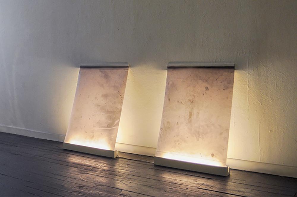 Surface, ground , 2014, Mylar digital prints of sidewalks illuminated by fluorescent lights, 24''x36''
